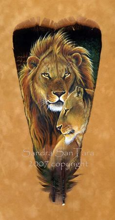 Lord and Lady -- African Lions on a painted feather Art by Sandra SanTara