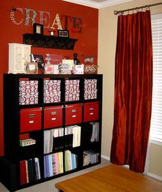 Organized Craft Room Ideas - Photo by momoftwins from Rate My Space #officespace #roomdesign #craftroom #craft #room #idea #decor #cube #storage #organization #display #red #ikea #expedit #bookcase #scrapbook #scrapbooking #stamping #sewing