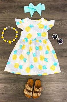 Yellow & Turquoise Pineapple Dress