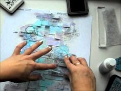 love the background with all the strips of paper and watercolor▶ Background with Nine 2 - YouTube