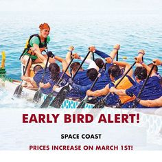 Early Bird Alert! In one month team fees will increase by $100 for the Space Coast Dragon Boat Festival. Enjoy the savings...get your team in by March 1st. . . . . #GWN #dragonboating #gwndragonboat #paddlesup #earlybird #discount