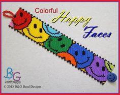HAPPY FACES Peyote Cuff Bracelet Pattern
