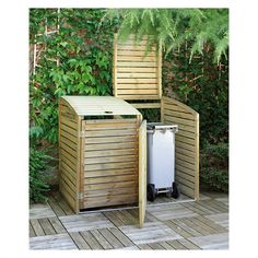 Wooden Wheelie Bin Storage Cover for two bins- H W Stylish covers offering ease of use with added the advantage of security. These double wheelie bin storage Shed Storage, Storage Bins, Landscape Design, Garden Design, Bin Store, Air Conditioning Units, Outdoor Furniture Sets, Outdoor Decor, Small Gardens