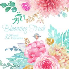 Watercolor Blooming Fresh Elements Flowers,Hand Painted, Floral,Dahlia, Ranunculus and Rose, Wedding Invitation, Greeting Card, DIY Clip Art