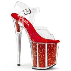 Pleaser clear red glitter platform shoes sandals heels in Clothing, Shoes & Accessories, Women's Shoes, Heels Neon Heels, Glitter Heels, Red Glitter, Glitter Girl, Holographic Glitter, Ankle Straps, Ankle Strap Sandals, Red Sandals, Pleaser Heels