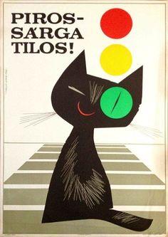 budapestposter: artist: Lengyel Sándor Educational poster by Lengyel… Graphic Design Illustration, Illustration Art, Black Cat Art, Black Cats, Photo Chat, Kunst Poster, Vintage Cat, Cat Drawing, Cool Posters