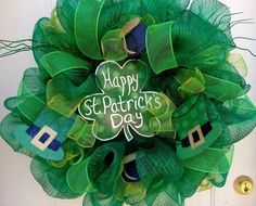 Patrick's Day mesh wreath in shades of green with hand-painted (by me) embellishments. Description from etsy.com. I searched for this on bing.com/images