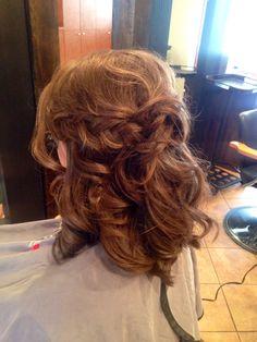 Medium length hair. Half up-half down, Tousled with braids. #updo