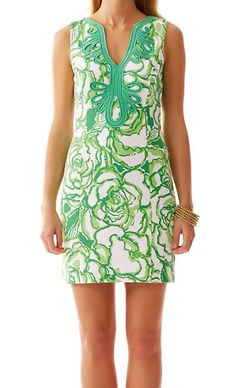 Lilly PulitzerJanice Knit Shift Dress in Resort White/Green Heart Breakers