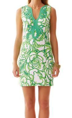 Lilly PulitzerJanice Knit Shift Dress in Resort White/Green Heart Breakers