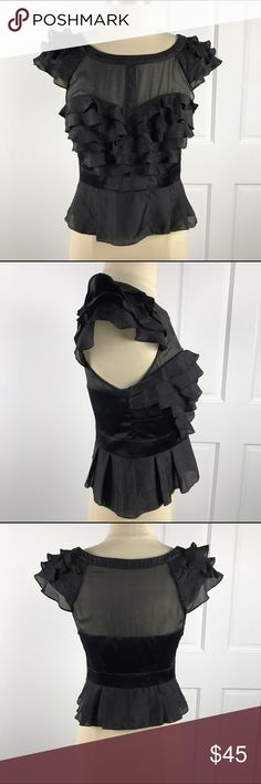 KAREN MILLEN Black Silk Ruffled & Sheer Blouse 6 Excellent used condition! Side zipper closure. Size 6. Karen Millen Tops Blouses