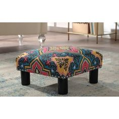 The Curated Nomad Stardust Square Accent Ottoman (Fabric/Upholstered - Tango Blue) Coastal Furniture, Furniture Deals, Living Room Furniture, Fabric Ottoman, Upholstered Ottoman, Wicker Ottoman, Square Ottoman, Colorful Chairs, Foot Rest