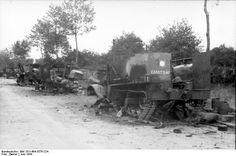 British wreckage after the Battle of Villers-Bocage mainly caused by Michael Whittmann's Tiger I company, June 1944.