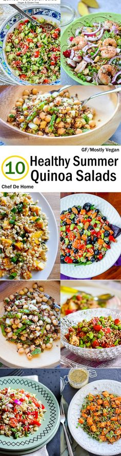 Sharing today, few of my favorite healthy quinoa salad recipes which are often on my weekday lunch menu.   I love a bowl of salad for lunch in summers and frankly, any season of the year. And quinoa salads top the chart when I want something quick and healthy.  Not just quinoa salads are healthy, but also travel well. In-fact, quinoa soaks delicious flavors from dressings while waiting to be devoured. Hence, pack'em to-go!! :)