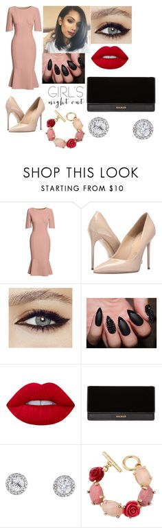 """""""Rose's"""" by fshioncrazy ❤ liked on Polyvore featuring Canvas by Lands' End, Massimo Matteo, Lime Crime, Balmain, Oscar de la Renta and girlsnightout"""