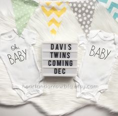 SET | Oh, Baby Baby Twin Pregnancy Announcement Onesies® / Bodysuits / Pregnancy Reveal / Photo Prop / Surprise Reveal / Bodysuits Only by HeartandArrowBtq on Etsy