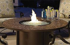 """42"""" cast-aluminum firepit in antique bronze finish. Can be special ordered in various sizes and finishes. In order to protect its retailers, many of our furniture vendors do not allow online pricing. Please call or visit one of our showrooms for current pricing information."""