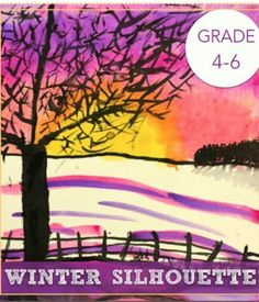 Children use watercolor techniques to create this stunning winter silhouette art lesson.