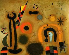 Joan Miro Dragonfly with Red-Tipped Wing in Pursuit of a Surpent Spiralling Toward a Comet 1951