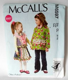 McCalls M6597 Sewing Pattern Easy Jacket Vest Skirt Girls 6 7 8