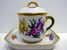 Royal Copenhagen Saxon Flower#1221 Custard Cup & Saucer w/Lid Set