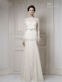2014 NEW Best Selling Bateau Ivory A-line Long Sleeves Sash Cool Muslim Lace Bridal Gown 2013 Wedding Dresses