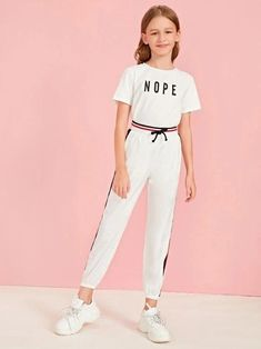 Girls Striped Tape Detail Tie Waist Wind Pants - - Girls Striped Tape Detail Tie Waist Wind Pants – kidenhome Source by kidenhome Preteen Girls Fashion, Girls Fashion Clothes, Teenage Girl Outfits, Teen Fashion Outfits, Kids Outfits Girls, Kids Fashion, Cute Casual Outfits, Cute Girl Outfits, Cute Summer Outfits