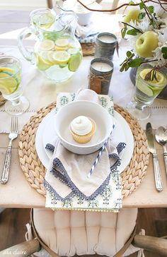 Spring Home Tour - Ella Claire Beautiful Table Settings, Healthy Cat Treats, Spring Home Decor, Party Entertainment, Place Settings, Weekend Is Over, Tablescapes, At Least, Table Decorations