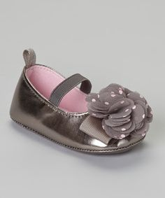 Another great find on #zulily! Stepping Stones Charcoal Gray Polka Dot Flower Flat by Stepping Stones #zulilyfinds