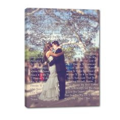 Lyrics wrapped around your photo --- CUSTOM CANVAS FOR ANNIVERSARY!!  GEEZEES.COM