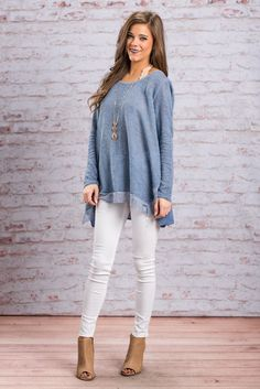 """Long Sleeve Wide Neckline Flowing Top - Denim Blue"" All parts of life have a bright side! This gorg denim blue top will definitely help you see that! If you're going through a rough patch just wear this top and it will brighten you day instantly by keeping you comfy and adorable! #newarrivals #shopthemint"