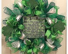 St Patrick's Day Irish Blessings Deco Mesh Wreath/ Saint Patrick's Day Wreath/ Green Wreath/Irish Blessings Wreath