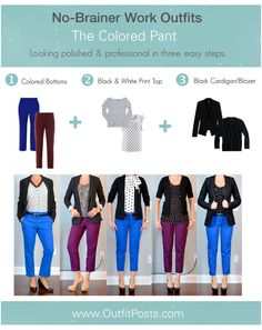 "outfit post: no-brainer work outfits ""The Colored Pant Formula"" 