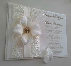 Vintage Glamour Wedding Invitation - lace, flower, ostrich feather.  Custom design in cream, white & ivory.  Request info: Facebook.com /thepaperveilcoutureinvitations