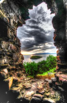 ✯ Sunset through the medieval window of a castle