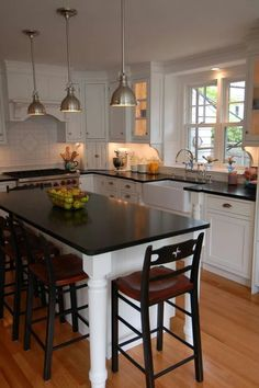 "Small Kitchen Layouts With Island as seen on hgtv's ""fixer upper."" love the gray beadboard on the"