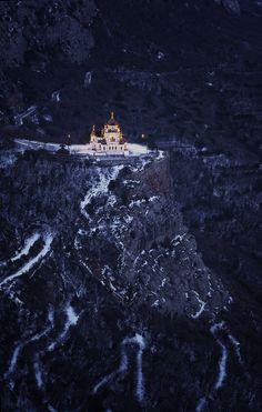 Foros Church in snow,  Yalta in the Crimea, Ukraine
