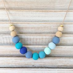 Your place to buy and sell all things handmade Polymer Clay Necklace, Polymer Clay Beads, Polymers, Shades Of Blue, Handmade Necklaces, Happy Shopping, Beaded Necklace, Beautiful