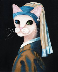 The Cat With the Pearl Earring - Original Cat Folk Art Painting by KilkennycatArt