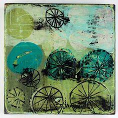 "Seven Wheels  Barbara Gilhooly (c) 2011  6 x 6""  acrylic on birch"