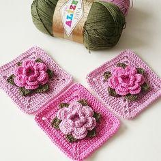 """Inspiration only. """"Crochet Granny Square """"Rose"""" step-by-step tutorial by @albevna . . Häkelmotiv """"Rose"""" - Schritt für Schritt Anleitung von @albevna . . #Güllümotif…"""""""