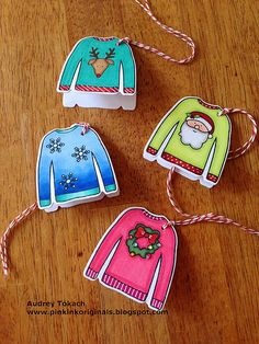 Ugly Sweater Tags by Audrey Tokach for Simon Says Stamp.