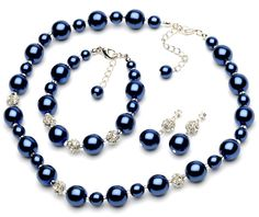 navy blue pearl jewelry
