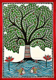 Kalpvriksha- The Tree Of Life 6 by Pratibha Madan   1000 Madhubani Paintings Peacock, Madhubani Art, Indian Art Paintings, Gond Painting, Mural Painting, Doodle Art Drawing, Art Drawings, Life Drawing, Tree Of Life Painting