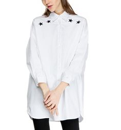 Star Embroidery Oversized Button Down Shirt