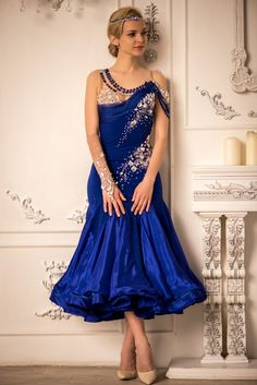 Love the elegance and simplicity of this design! Dance Dresses, Designer Dresses, Royal Blue, Sparkle, Gowns, Couture, Elegant, American, Formal Dresses