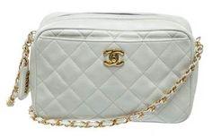 Chanel | Chanel White Quilted Caviar Vintage Camera Case Crossbody Handbag