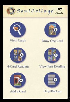 """This app is a completely different way to store images of your cards. You can easily share your cards with others and do readings with your cards - wherever you are.  You can even save your readings and the notes you take as you do the """"I Am One Who..."""" exercise.  http://www.hanfordmead.com/product/soulcollage%C2%AE-iphone-ipad-app?utm_campaign=coschedule&utm_source=pinterest&utm_medium=SoulCollage%C2%AE"""