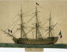 Coloured etching showing the the port side of the Commerce de Marseilles (1788). Commerce de Marseiiles was an 188 gun, second rate ship of the line of the French Navy and a lead ship of the Ocean Class.  21 Mar 1801  Sewell, John. Coloured etching
