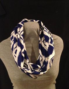 Blue and white ikat Infinity scarf by KruseKreations22 on Etsy, $15.00